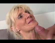 blonde mature rides a young hard cock