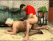 Blonde Grannie - punishment turns into sex