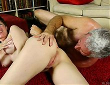 Dirty old spunker enjoys a hard fucking and a sticky facial