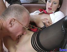 Brit milf fingered and fucked in elderly trio