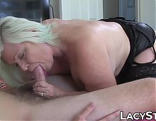 English granny with big titties lets partner creampie her