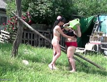 Dirty lesbian group sex with watermelon pissing fisting
