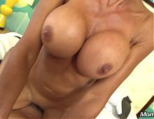 Huge Tits Fitness Cougar Fucks on Film