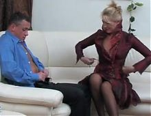 Blonde seduces a guy