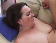 Old woman horny for cock in her tight holes