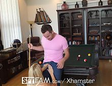 SpyFam Stepmom Laura Bentley fucks stepson on pool table