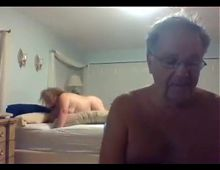 grandpa and grandma on webcam