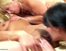 Pregnant girl in crazy lesbian group sex with mature moms