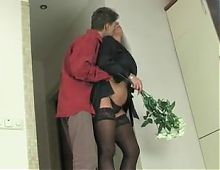 Mature blonde and boy
