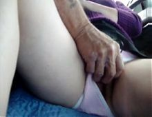 Old man and dildo girl